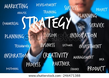 business man writing strategy plan concept. business man writing business model - stock photo