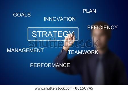 business man writing strategy plan on white board - stock photo