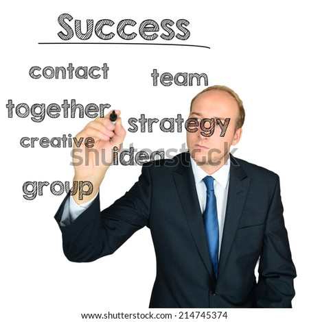 business man writing success concept wordcloud on white background - stock photo