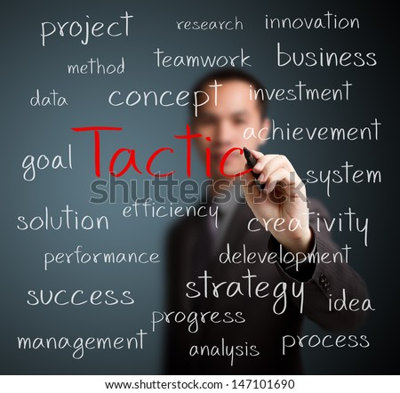 business man writing tactic concept - stock photo