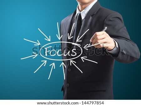 business man writing target on focus - stock photo