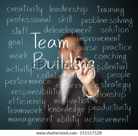 business man writing team building concept - stock photo