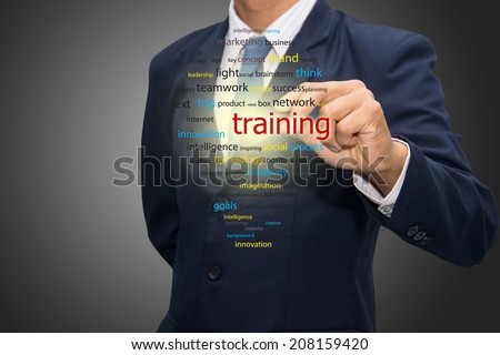 business man writing training concept