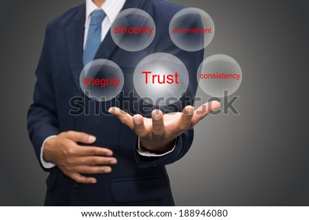 business man writing trust building concept  - stock photo