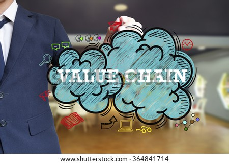 business man writing VALUE CHAIN over the cloud with office background , business concept , business idea - stock photo