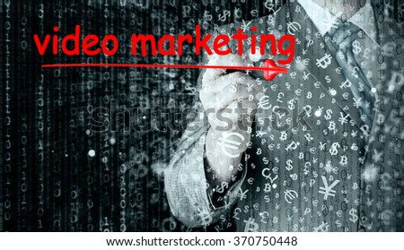business man writing Video Marketing - stock photo