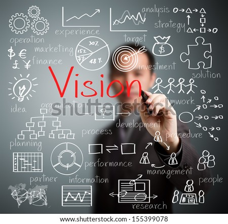 business man writing vision concept - stock photo