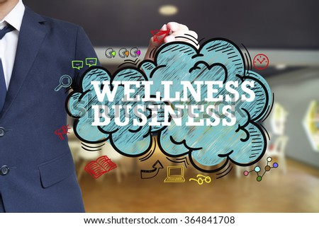 business man writing WELLNESS BUSINESS over the cloud with office background , business concept , business idea - stock photo