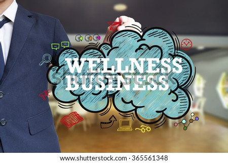 business man writing WELLNESS BUSINESS over the cloud with office background , business concept  - stock photo