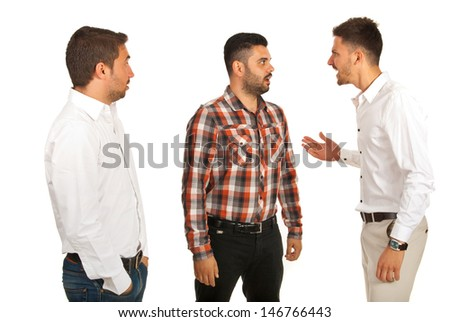Business man yelling at his colleague and other man being surprised isolated on white background
