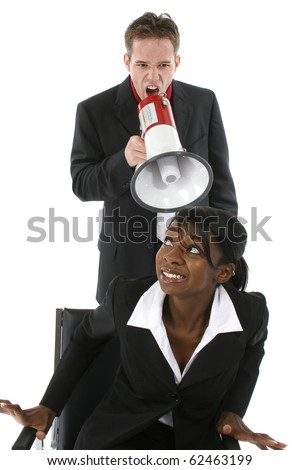 Business man yelling at woman through blow horn over white. - stock photo
