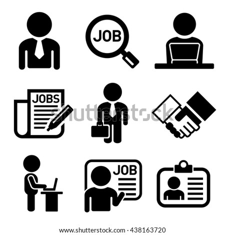 Business, Management and Human Job Resources Icons Set. illustration - stock photo
