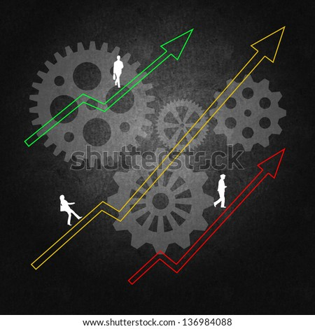 Business management leading to success and team work - stock photo