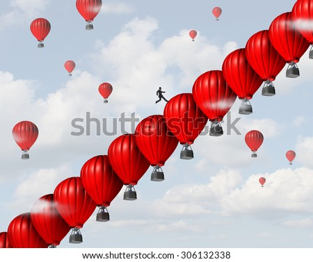 Business management success leadership concept as a group of red air balloons stacked in a staircase or stairs formation so a businessman leader can climb steps towards a financial goal. - stock photo