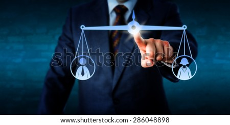 Business manager touching a virtual weighing scale to balance out one female and one male office worker. Metaphor for coaching, recruitment, conflict mediation, gender issues and performance review. - stock photo