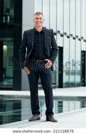 Business Mann with telephone - stock photo