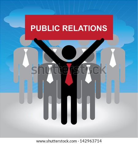 Business, Marketing or Financial Concept Present By Group of Businessman With Red Public Relations Sign in Blue Sky Background - stock photo