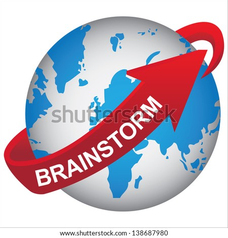 Business, Marketing or Idea Solution Concept Present By Blue Earth With Red Brainstorm Arrow Around  Isolated on White Background - stock photo
