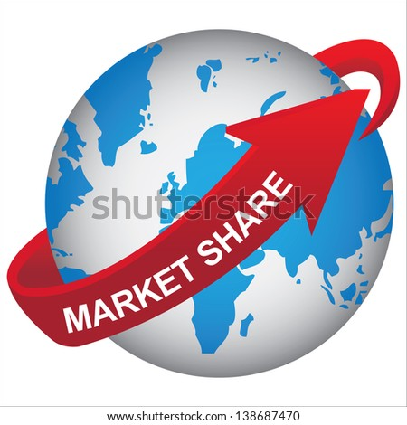 Business, Marketing or Idea Solution Concept Present By Blue Earth With Red Market Share Arrow Around  Isolated on White Background - stock photo