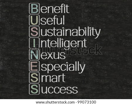 business meaning and stand for written on blackboard, background, high resolution - stock photo