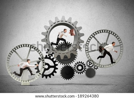 Business mechanism system with running business team - stock photo