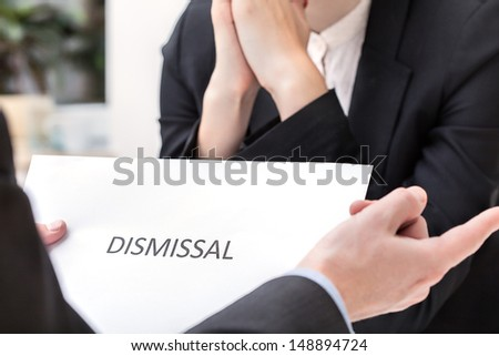 Business meeting and dismissal, people in suits