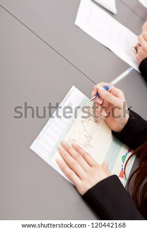 business meeting at office with group team discussing - stock photo