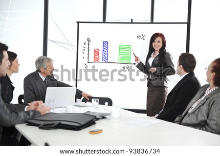 Business meeting - group of people in office at presentation with flip chart