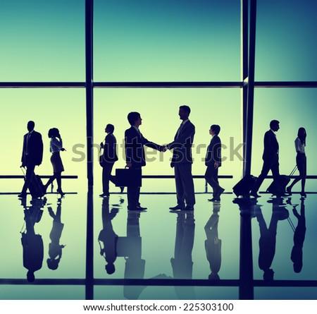 Business Meeting Handshake Silhouette Concept - stock photo