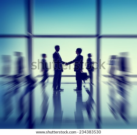 Business Meeting Handshake Silhouette Seminar Conference Concept - stock photo
