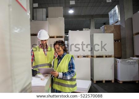 Man Woman Have Short Meeting Warehouse Stock Photo ...