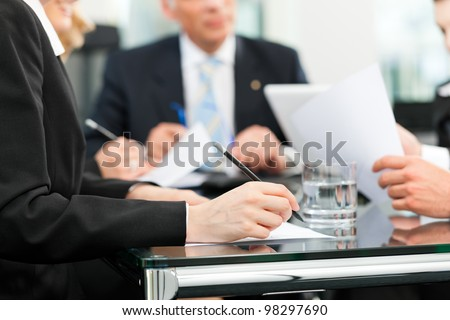 Business Meeting Office Lawyers Attorneys Discussing Stock Photo