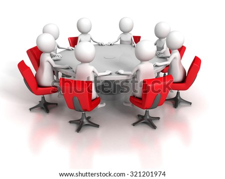 Business Meeting Of Team Group 3d People. 3d Render Illustration - stock photo