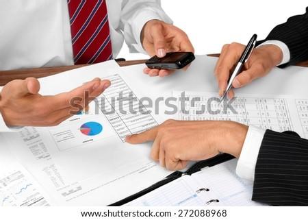 Business, Meeting, Paperwork. - stock photo