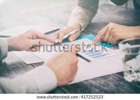 business meeting plan report human market success training - stock image