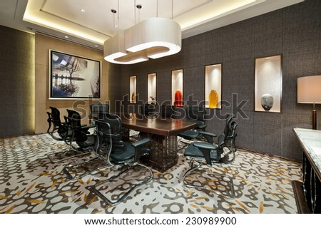 Business meeting room with carpet and bright lit - stock photo