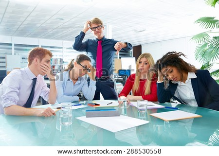 business meeting sad expression bad negative gesture young teamwork - stock photo