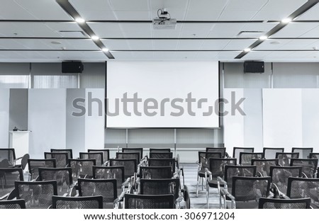 Business meeting Seminar room conference and Seats with Blank Mock up white board - stock photo