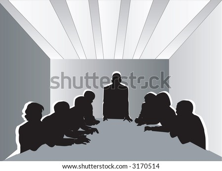 Business Meeting Stripes Ceiling - stock photo