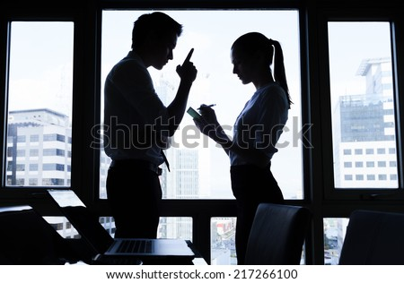 Business meeting. Two business people at the office - stock photo