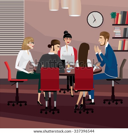 Business men and women at meeting in office | raster version - stock photo
