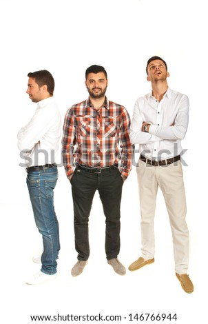 Business men doing different positions isolated on white background