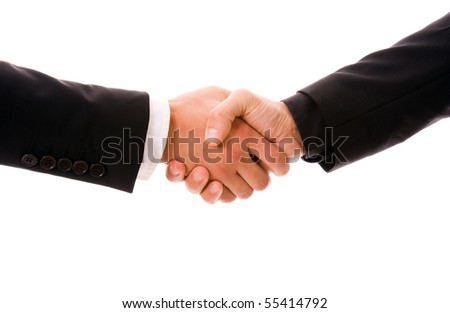 Business men hand shake in white background - stock photo