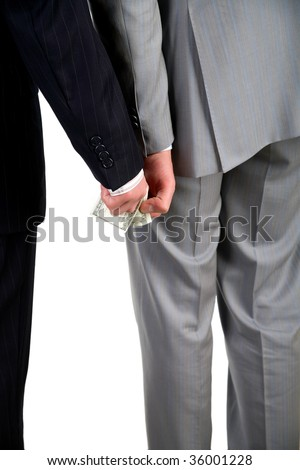Business men hidden money transfer - stock photo
