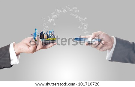 Business men holding smart phone with city on screen and sending mail - stock photo
