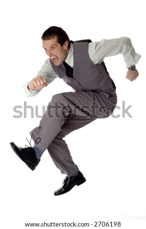 business men jumping on white - success concept