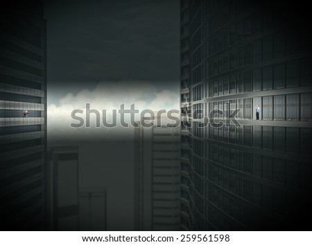 business men looking from skyscrapers - stock photo