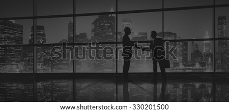 Business Men People Handshake Silhouette Concept - stock photo