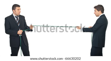 Business men pulling rope in a competition isolated on white background