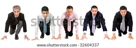 Business men ready to race isolated over white - stock photo